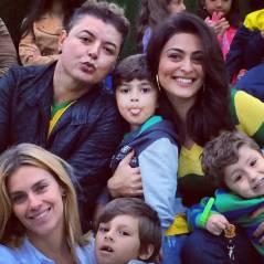 Juliana Paes e Carolina Dieckmann levam filhos para treino do Brasil com Neymar