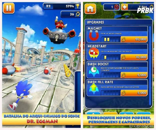 """Direcionar Sonic para evitar que ele bata nos obstáculos em """"Sonic Dash"""""""