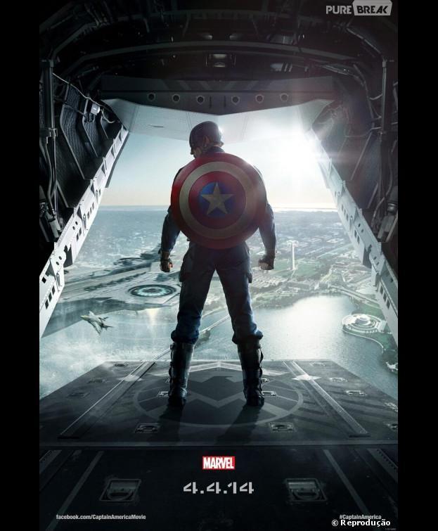 """Cartaz de""""Capitão América 2 - O Soldado Invernal"""", que antecede o teaser do filme"""