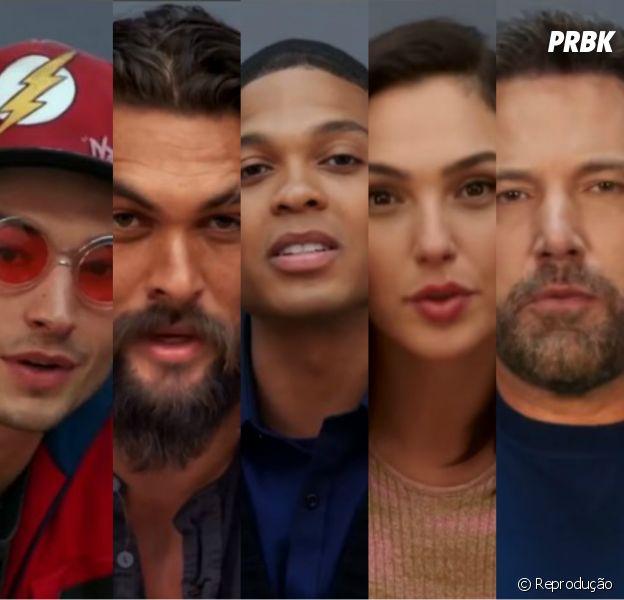 "De ""Liga da Justiça"", Ezra Miller (Flash), Jason Momoa (Aquaman), Gal Gadot (Mulher Maravilha) e Ben Affleck (Batman) se apresentam"