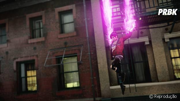"Os ataques rosa neon de Fetch em ""inFamous: First Light"""
