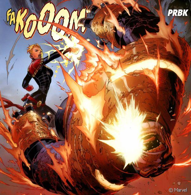 Capitã Marvel dá uma surra em Thanos, pelo menos na HQ