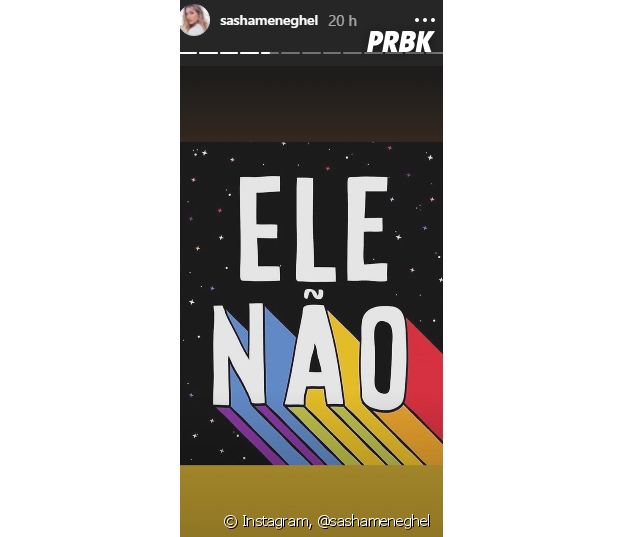 Sasha Meneghel usa a hashtag #EleNão
