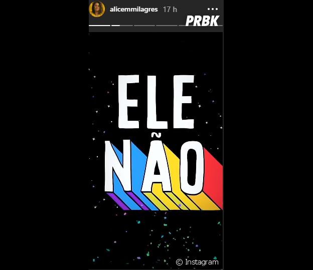 """Alice Milagres, de """"Malhação Vidas Brasileiras"""", adere à campanha #EleNão"""