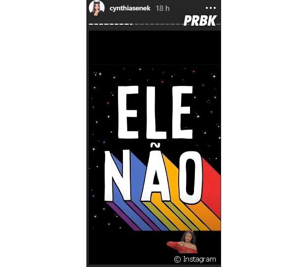 """Ex-""""Malhação"""", Cyntia Senek adere à campanha #EleNão"""