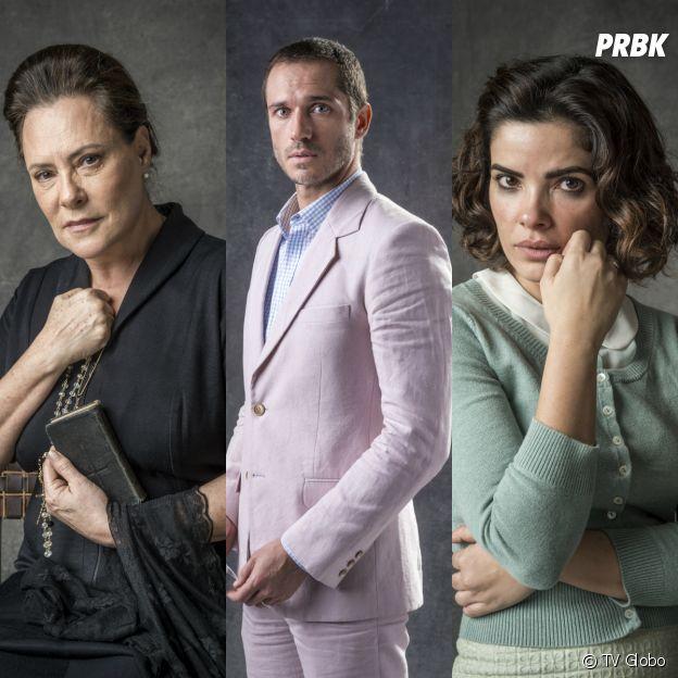 """José Aranha (Paulo Rocha), Mirtes (Elizabeth Savalla) e Stella (Vanessa Giácomo) são alguns personagens de """"O Sétimo Guardião"""""""