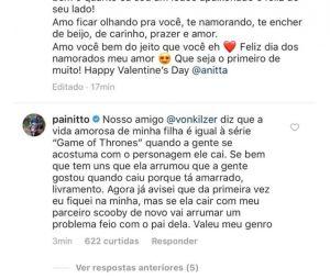 Anitta dá bronca no pai após comentário indiscreto em foto de Pedro Scooby