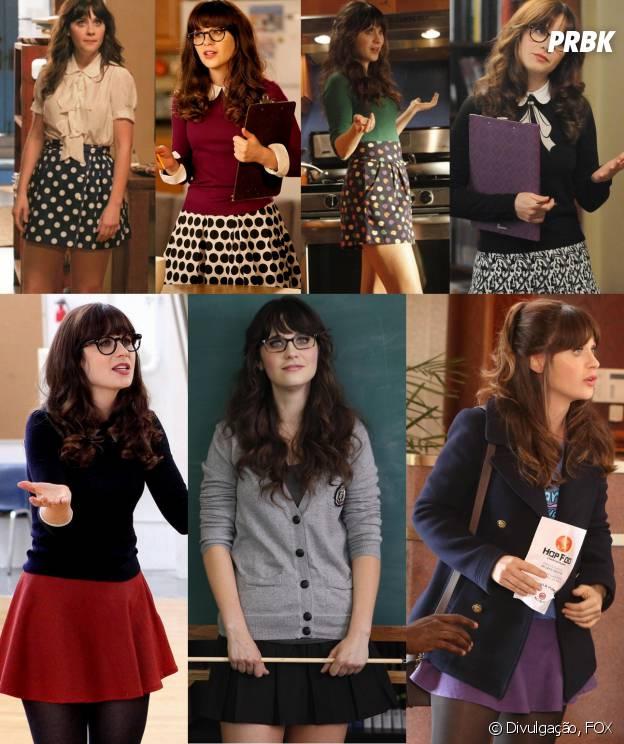 A Jess (Zooey Deschanel) ama as saias de cintura alta e baixa de todas as cores e estampas