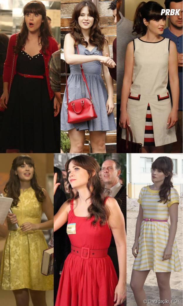 Vestidos acinturados e rodados também são a marca registrada de Jess (Zooey Deschanel)