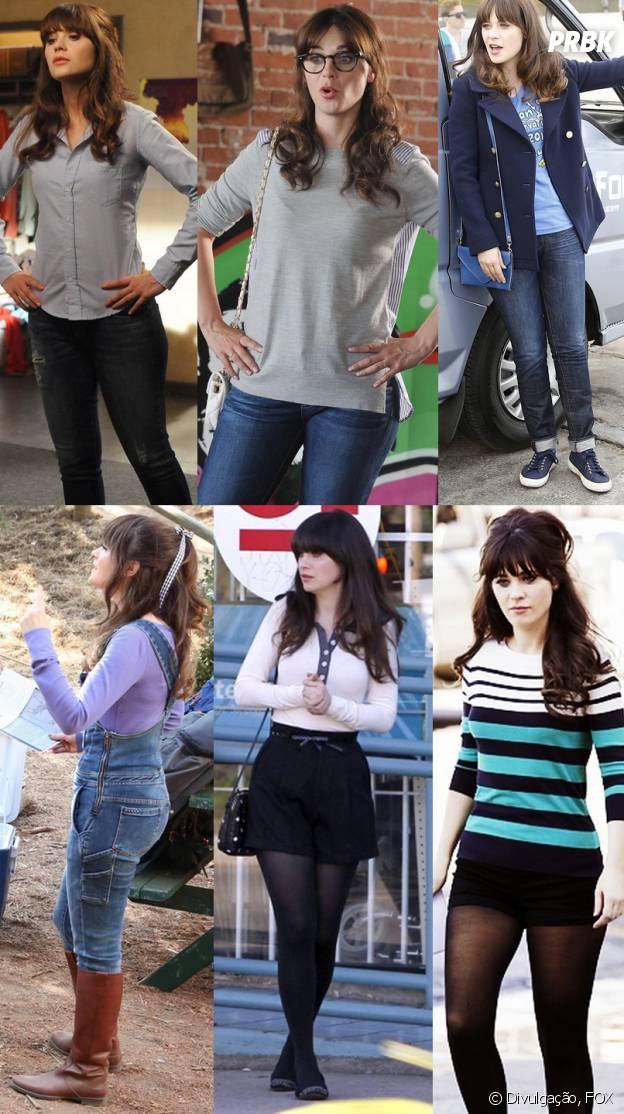 Jess (Zooey Deschanel) também usa muito jeans e as vezes de short curtinho com meia calça