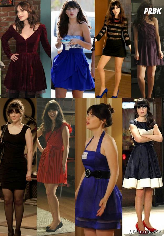 Os vestidos de festa da Jess (Zooey Deschanel) também são maravilhosos!