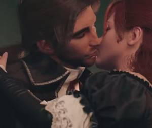 """Elise dando beijinho no Arno em """"Assassin's Creed Unity"""""""