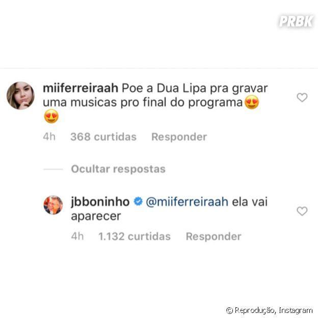 """""""BBB20"""": Boninho responde usuário sobre participação de Dua Lipa na final"""
