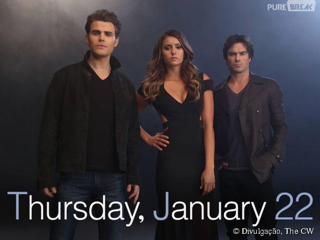 "Stefan (Paul Wesley), Elena (Nina Dobrev) e Damon (Ian Somerhalder) aparecem em nova foto promocional de ""The Vampire Diaries"""