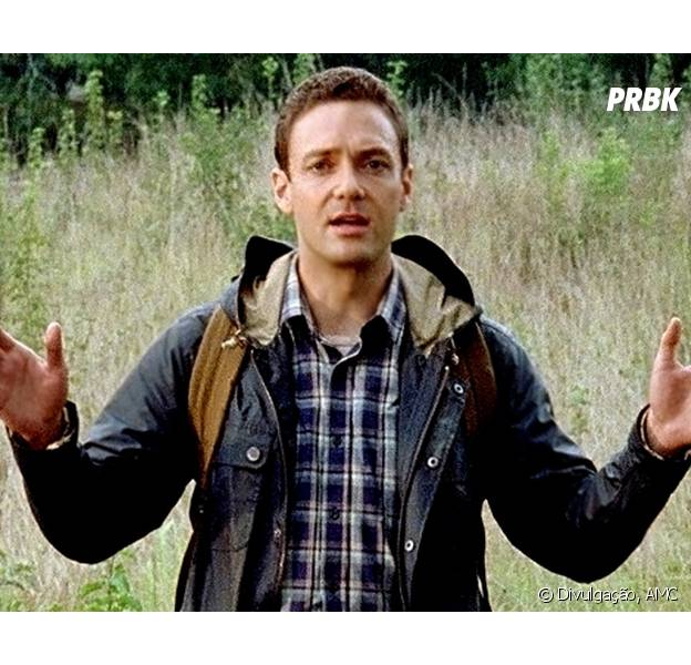 "Em ""The Walking Dead"", Aaron (Ross Marquand) estava seguindo o grupo de Rick (Andrew Lincoln)"