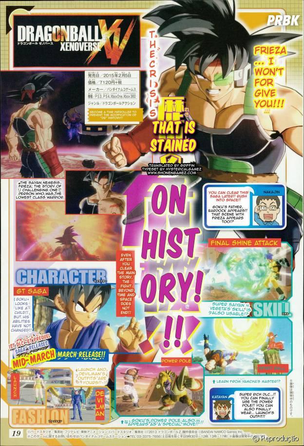 """Cópia da revista Shonen Jump revelando detalhes sobre o primeiro DLC de """"Dragon Ball Xenoverse"""""""