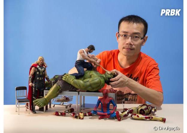 """O fotógrafo Edy Hrjoe e sua criação com os bonecos e """"Os Vingadores"""""""