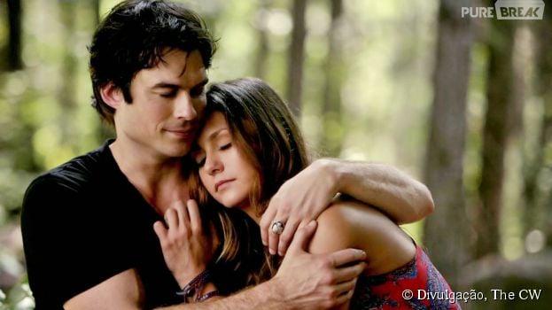 "Elena (Nina Dobrev) e Damon (Ian Somerhalder) eram inseparáveis em ""The Vampire Diaries"""