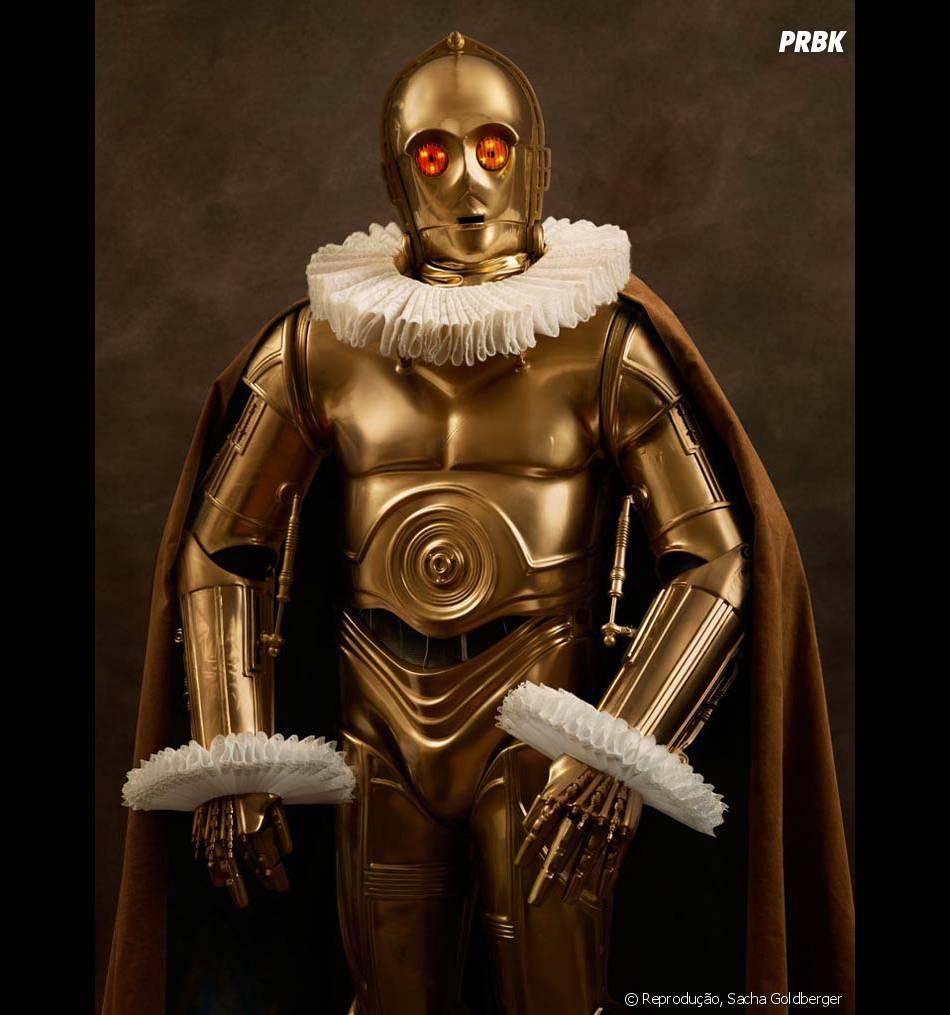 """O C3PO ficou classudo nessa beca, hein? Até que os personagens de """"Star Wars"""" estão se dando bem nessa"""