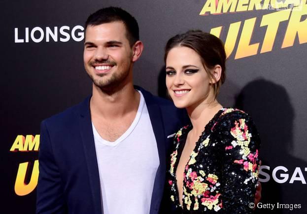 "Taylor Lautner prestigiou Kristen Stewart na première de ""American Ultra"""