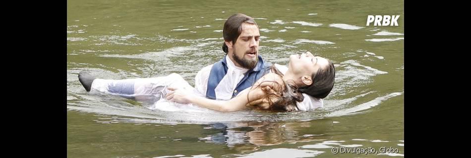 """Na novela """"Além do Tempo"""", Lívia (Alinne Moraes) e Felipe (Rafael Cardoso) morrem afogados"""