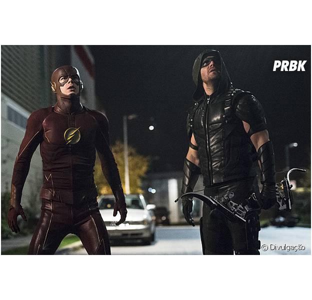 """Em """"Arrow"""" e """"The Flash"""": heróis Oliver (Stephen Amell) e Barry (Grant Gustin) combatem um vilão imortal!"""