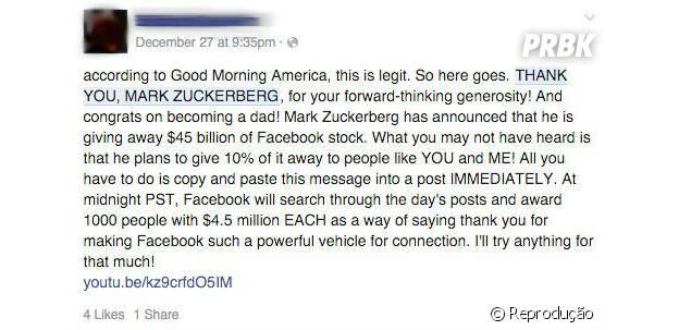 Facebook e sua falsa corrente!