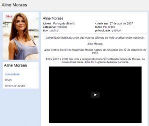 Aline Moraes não estava em alta só nas novelas, mas também no Orkut
