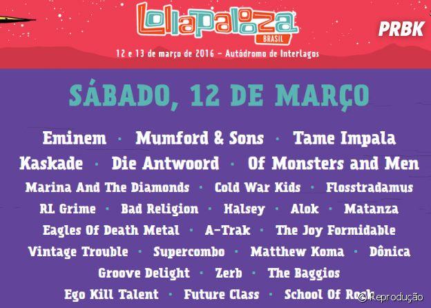 Confira o lineup deste sábado (12) do Lollapalooza 2016 no Brasil