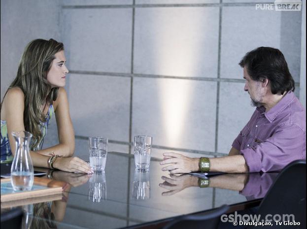 """Lili (Juliana Paiva) e seu pai LC(Antonio Calloni) conversando sobre a comida na Comunidade, na novela """"Além do Horizonte"""""""