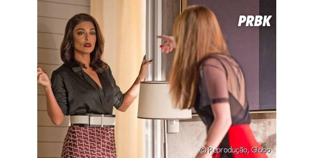 """Novela """"Totalmente Demais"""": Carolina (Juliana Paes) pede desculpas para Eliza (Marina Ruy Barbosa), mas modelo se revolta!"""
