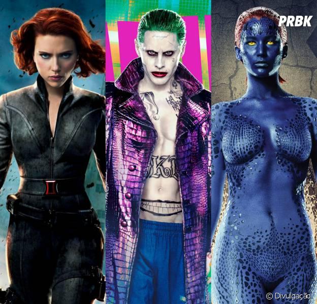 Viúva Negra (Scarlett Johansson), Coringa (Jared Leto) e Mística (Jennifer Lawrence) estão entre os personagens que deveriam ganhar um filme solo!