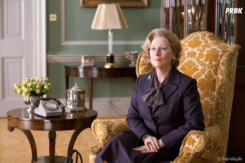 """""""A Dama de Ferro"""": Baseado em fatos reais, o drama mostra Meryl Streep na pele de Margaret Thatcher, uma mulher que assumiu o poder do Reino Unido, em meio a políticas questionáveis"""
