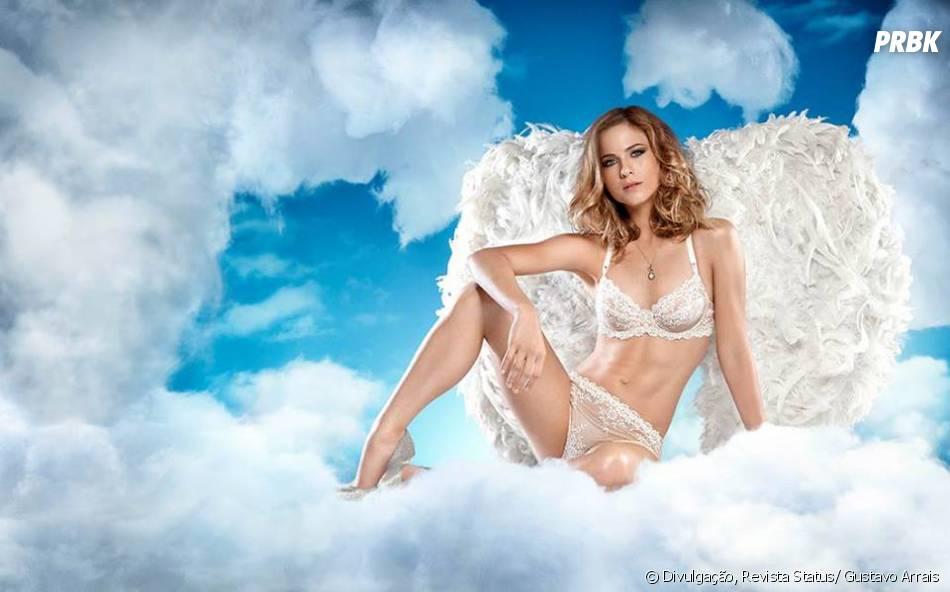 """Capa da revista """"Status"""", Luiza Valdetaro posa como anjo"""