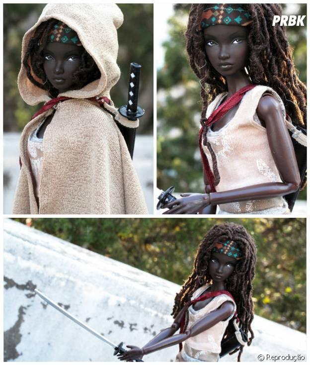 "De guerreira à boneca: Barbie aparece caracterizada como Michonne (Danai Gurira)de ""The Walking Dead"""