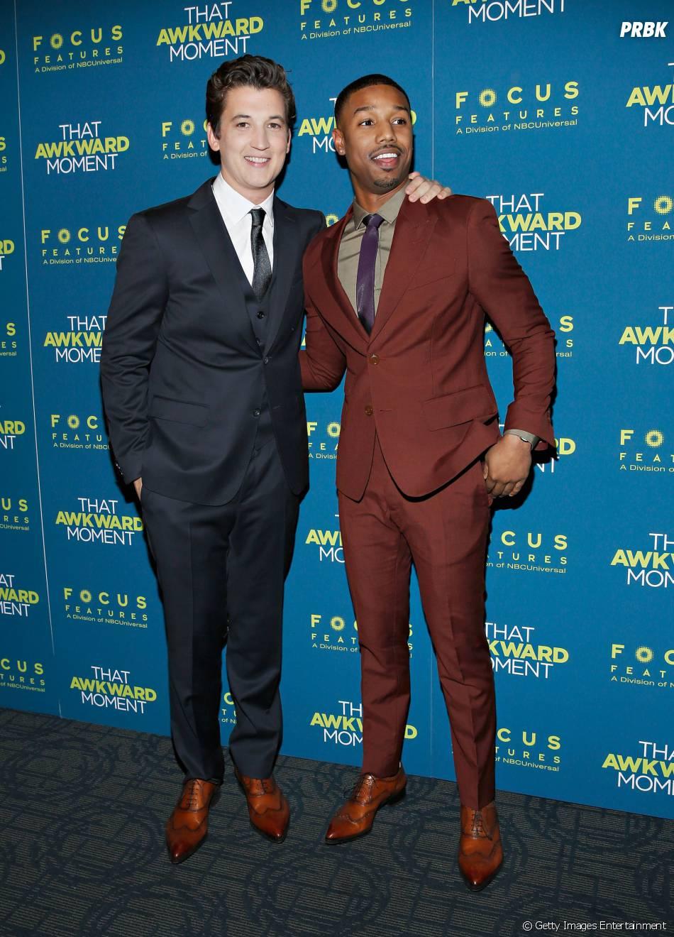 piękno sportowa odzież sportowa przystępna cena Miles Teller e Michael B. Jordan em premiere de Namoro ou ...