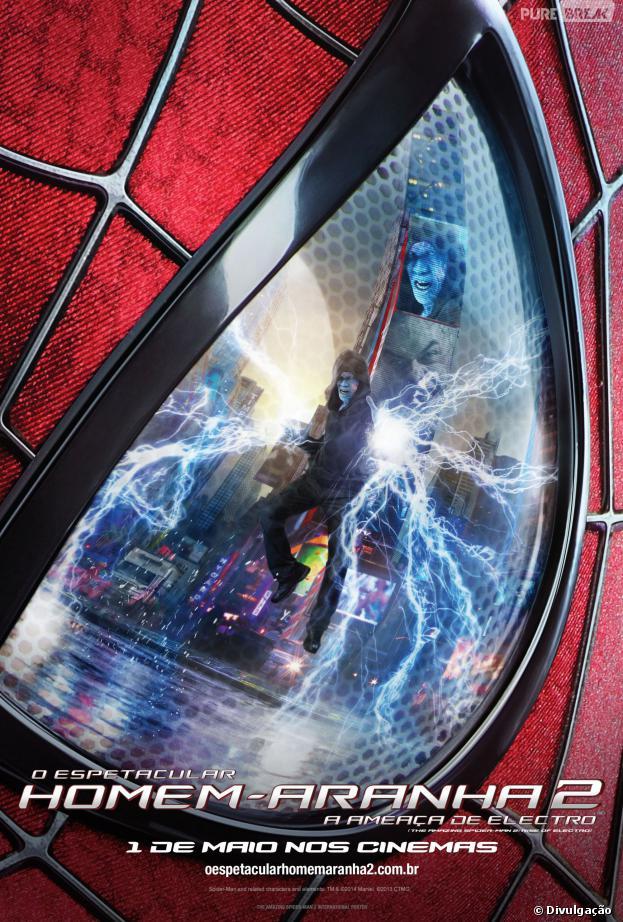 """Cartaz nacional de """"O Espetacular Homem-Aranha 2: A Ameaça de Electro"""", que estreia dia 1º de maio nos cinemas brasileiros"""
