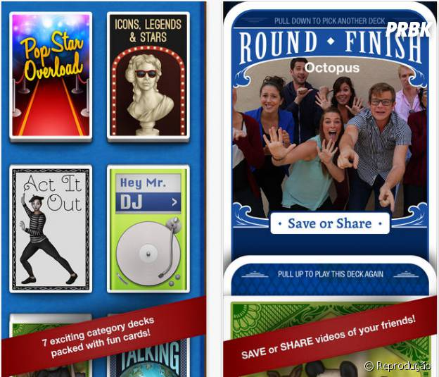 Vários temas diferentes em decks de categorias personalizáveis e os melhores momentos com seus amigos gravados no seu celular ou nas redes sociais.