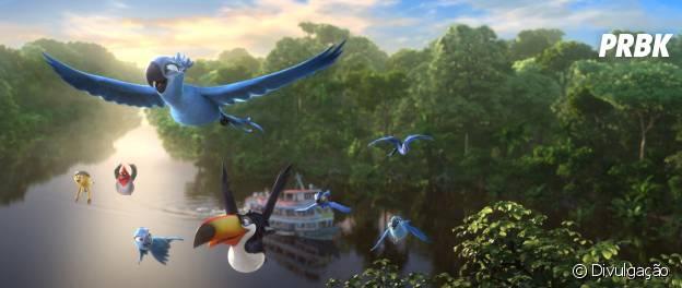 Blu e sua família embarcam numa aventura na Amazônia