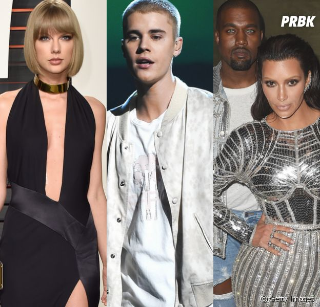 Justin Bieber escolhe lado na treta entre Taylor Swift, Kim Kardashian e Kanye West