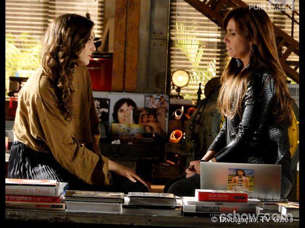 """Na novela """"Em Família"""", Clara (Giovanna Antonelli) não decide seus sentimentos por Marina (Tainá Müller)"""