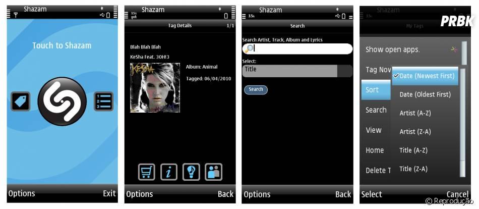 O Shazammostra a capa do álbum e link para comprar o áudio no iTunes e Google Play