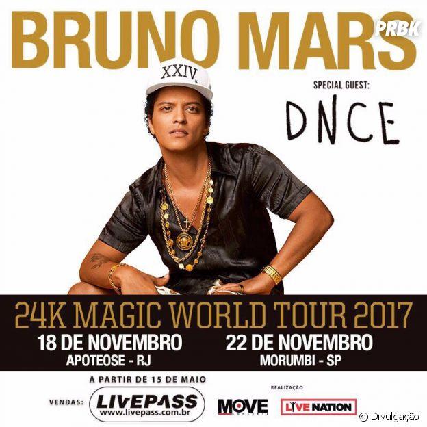 Bruno Mars e DNCE farão shows no Brasil!