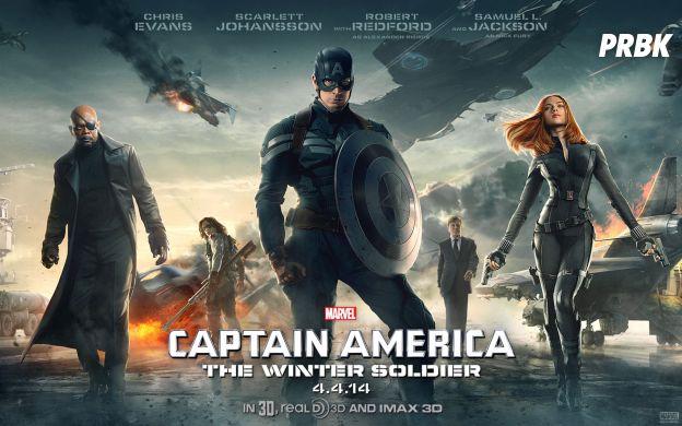 """Em """"Capitão América: O Soldado Invernal"""",  Steve Rogers (Chris Evans) conta com a ajuda da Viúva Negra (Scarlett Johansson) para se livrar do Soldado Invernal"""