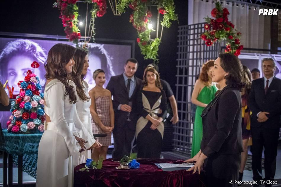 """Reta final de """"Em Família"""", tem casamento deClara (Giovanna Antonelli) e Marina (Tainá Müller)"""