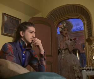 """Em """"Meu Pedacinho de Chão"""", Nando (Johnny Massaro) ouviu muito os conselhos de Catarina (Juliana Paes) sobre Gina (Paula Barbosa)"""