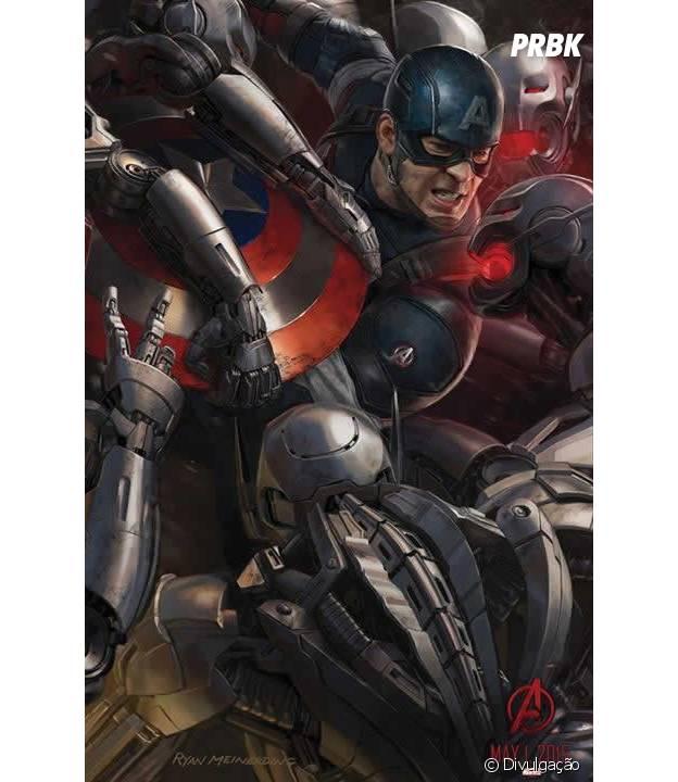 """Capitão América (Chris Evans) está destacado em arte de """"Os Vingadores 2"""""""