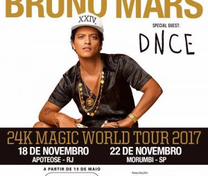 Bruno Mars fará quatro shows no Brasil!