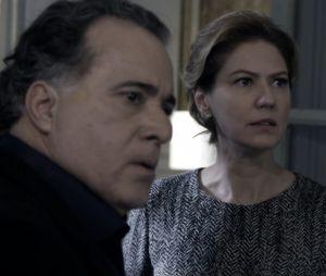 """Angela (Patrícia Pillar) e Braga (Tony Ramos) se assustam com o perigo em """"O Rebu"""""""