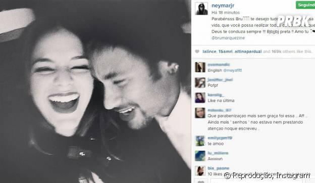 Neymar deixa recado para Bruna Marquezine no aniversário da atriz